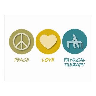 Terapia física del amor de la paz postal