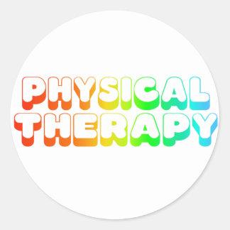 Terapia física del arco iris pegatina redonda