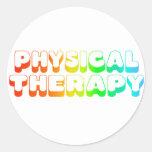 Terapia física del arco iris pegatinas redondas