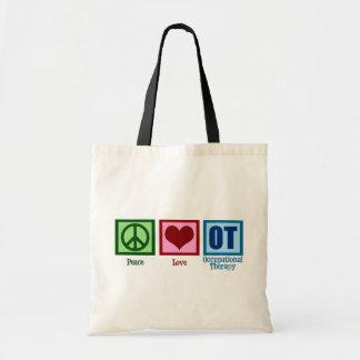 Terapia profesional del amor de la paz bolsa tela barata
