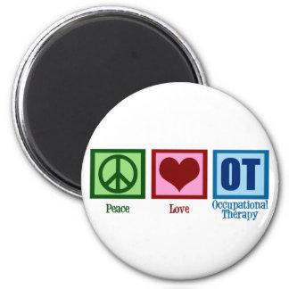 Terapia profesional del amor de la paz imán redondo 5 cm