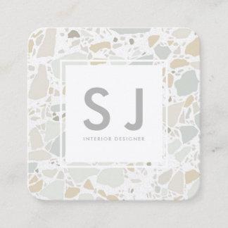 Terazzo Texture Simple Modern Interior Designer Square Business Card