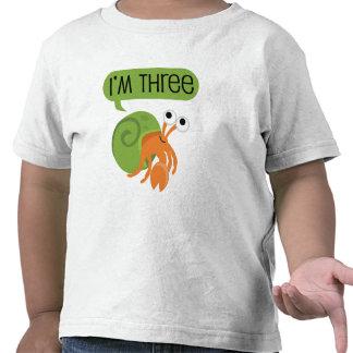 Tercer cangrejo de ermitaño del cumpleaños camiseta