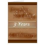 Tercer cuero del ~ del aniversario de boda felicitaciones