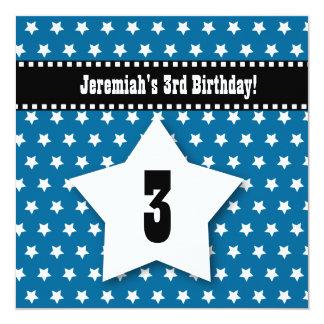 Tercer cumpleaños TRES estrellas azules V01B del Invitaciones Personales