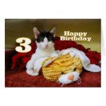 Tercer gatito del cumpleaños con el tigre del tarjeta de felicitación