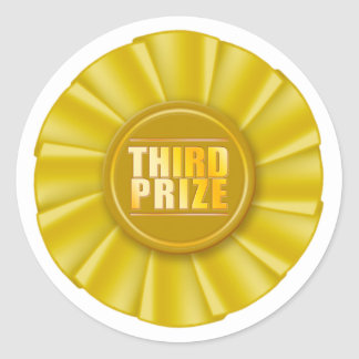 tercer pegatina premiado del rosetón amarillo