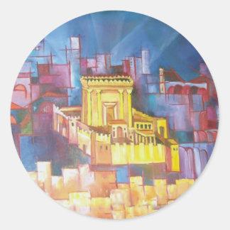 Tercer templo de Jerusalén Pegatina Redonda