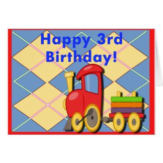 Tercer tren feliz del cumpleaños tarjetas