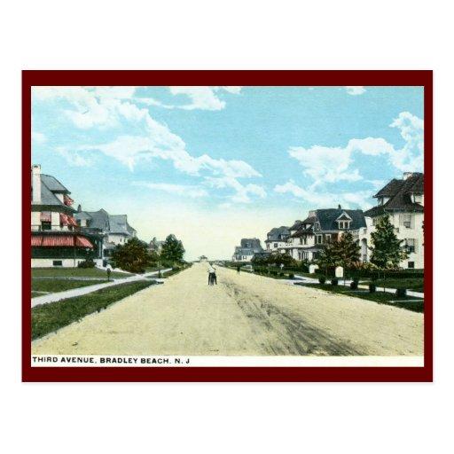 Tercera avenida, playa de Bradley, vintage de NJ Tarjetas Postales