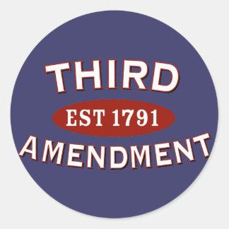 Tercera enmienda Est 1791 Etiqueta Redonda