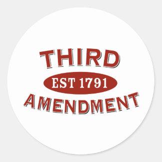 Tercera enmienda Est 1791 Pegatinas Redondas