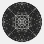Tercera geometría sagrada dimensional pegatina redonda