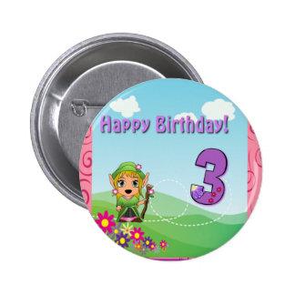 Tercera hada feliz del cumpleaños pin