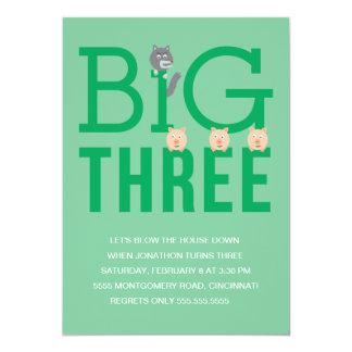 Tercera invitación del cumpleaños de tres pequeños