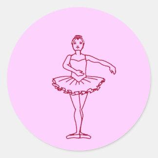Tercera posición del ballet pegatina redonda