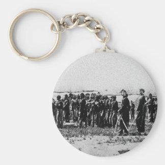 Terceras tropas coloreadas de la guerra civil de l llavero redondo tipo pin