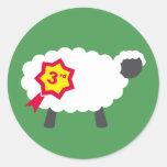 Terceros pegatinas de las ovejas del lugar etiquetas redondas
