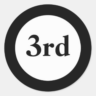 Terceros pegatinas del negro del premio del lugar etiquetas redondas