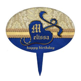 Terciopelo antiguo con monograma del azul real del figura para tarta