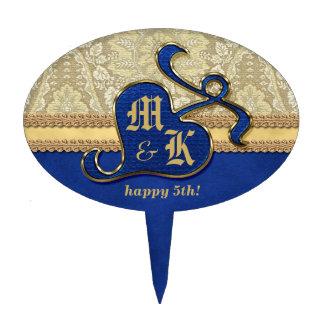 Terciopelo antiguo con monograma del azul real del decoración de tarta