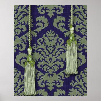 Terciopelo, borlas y hojas del corte del damasco poster