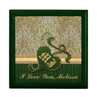 Terciopelo de color verde oscuro del oro antiguo c caja de regalo