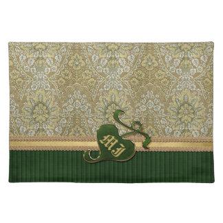 Terciopelo de color verde oscuro del oro antiguo c manteles