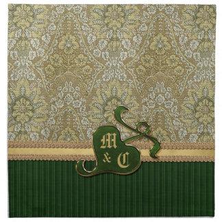Terciopelo de color verde oscuro del oro antiguo c servilleta