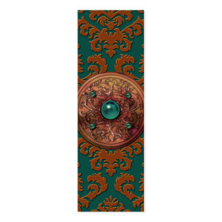 Terciopelo del corte del damasco, medallón tarjetas de visita mini