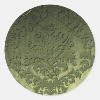 Terciopelo del corte del damasco, remolinos pegatina redonda