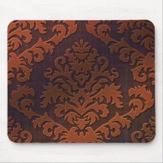 Terciopelo del corte del damasco, sombra en naranj alfombrillas de raton