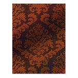 Terciopelo del corte del damasco, sombra en naranj postal