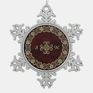 Terciopelo rojo con el ornamento de oro adorno de peltre en forma de copo de nieve