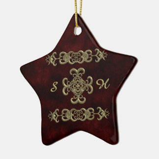 Terciopelo rojo con el ornamento de oro adorno de cerámica en forma de estrella