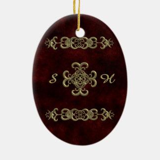 Terciopelo rojo con el ornamento de oro adorno ovalado de cerámica