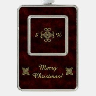 Terciopelo rojo con el ornamento de oro adornos con foto