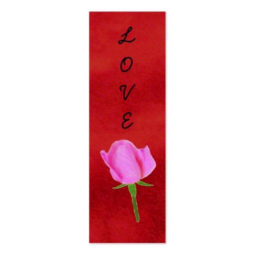Terciopelo rojo con las señales color de rosa, tarjetas de visita mini