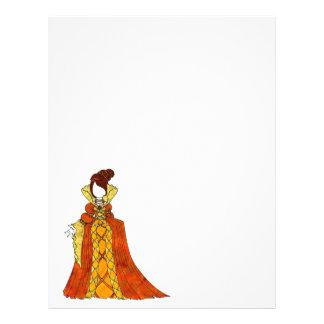 """Terciopelo y vestido anaranjados de las perlas folleto 8.5"""" x 11"""""""