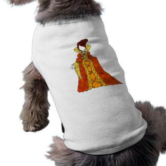 Terciopelo y vestido anaranjados de las perlas playera sin mangas para perro