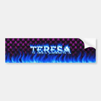 Teresa blue fire and flames bumper sticker design.