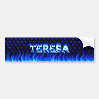 Teresa blue fire and flames bumper sticker design. car bumper sticker