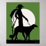 Teresa en verde - señora del art déco con el perro poster