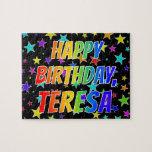 "[ Thumbnail: ""Teresa"" First Name, Fun ""Happy Birthday"" Jigsaw Puzzle ]"