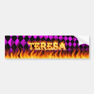 Teresa real fire and flames bumper sticker design