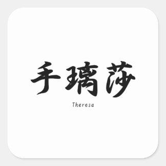 Teresa tradujo a símbolos japoneses del kanji pegatinas cuadradases