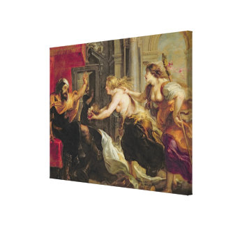 Tereus confronted with the head of his son Itylus, Canvas Print