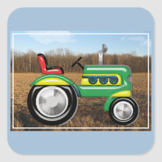Teriffic Green Tractor in the Fields Square Sticker