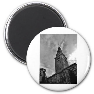 Terminal Tower in Black and White Fridge Magnets