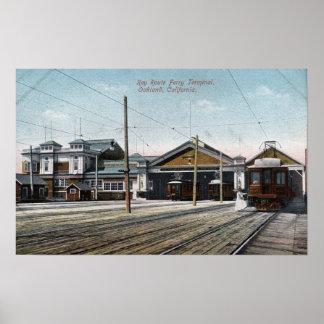 Terminal y ferrocarril dominantes de transbordador poster